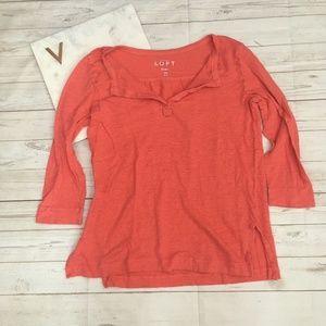loft womens xs orange linen top preppy ¾ sleeve vn